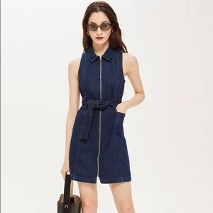 Topshop Moto Denim Zipper Dress with Belt